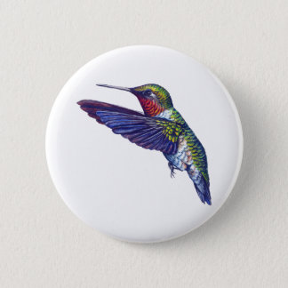 Ruby Throated Hummingbird Pinback Button