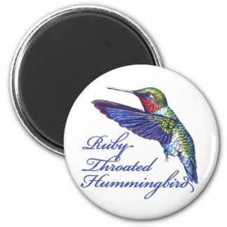 Ruby Throated Hummingbird Scripted Magnet