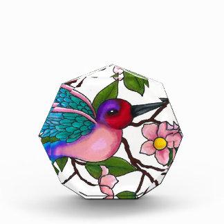 Ruby Throated Hummingbird with Peach Blossoms Acrylic Award
