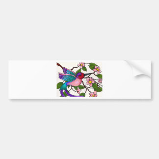Ruby Throated Hummingbird with Peach Blossoms Bumper Sticker