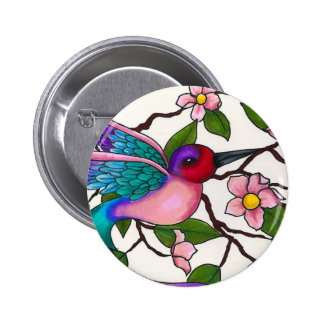 Ruby Throated Hummingbird with Peach Blossoms Buttons