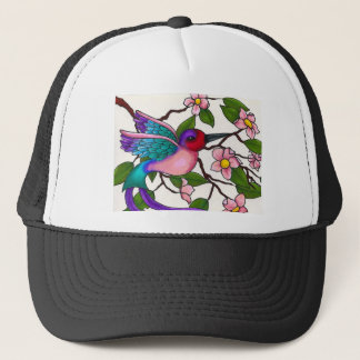 Ruby Throated Hummingbird with Peach Blossoms Trucker Hat