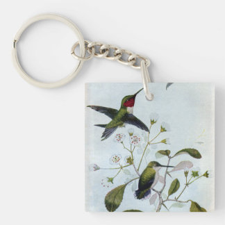 Ruby-throated Hummingbirds Keychain