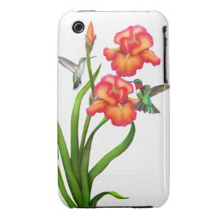 Ruby Throated Hummingbirds on Irises Case-Mate iPhone 3 Case