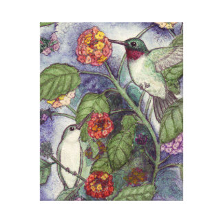 """""""Ruby Throated Hummingbirds on Lantana"""" Canvas Gallery Wrapped Canvas"""