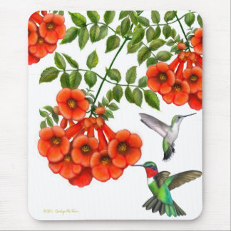 Ruby Throated Hummingbirds on Trumpet Vine Mouse Pad