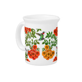 Ruby Throated Hummingbirds on Trumpet Vines Drink Pitchers