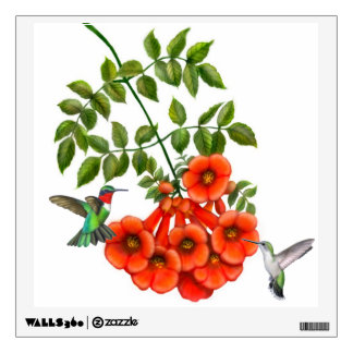 Ruby Throated Hummingbirds on Vine Wall Decal