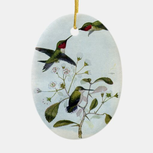 Ruby-throated Hummingbirds Double-Sided Oval Ceramic Christmas Ornament