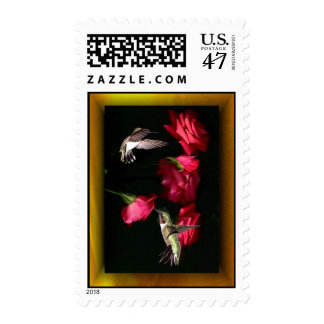 Ruby-Throated Hummingbirds Roses 08-16-04c Postage
