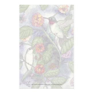 """Ruby Throated Hummingbirds"" Stationery"