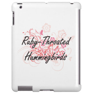 Ruby-Throated Hummingbirds with flowers background