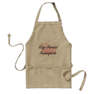 Ruby-Throated Hummingbirds with flowers background Adult Apron