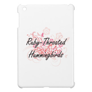 Ruby-Throated Hummingbirds with flowers background Cover For The iPad Mini