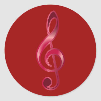 Ruby Treble Clef Classic Round Sticker