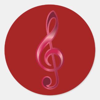 Ruby Treble Clef Classic Round Sticker