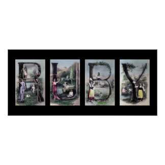 RUBY Vintage Alphabet Letter Name Art Poster