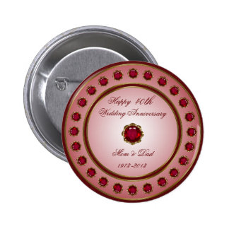 Ruby Wedding Anniversary Button