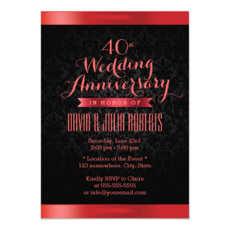 Ruby Wedding Anniversary Elegant Black Damask Invitation