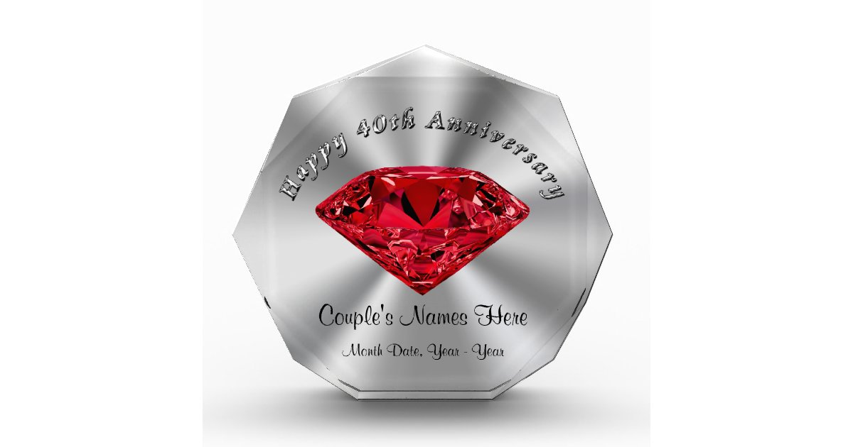 Ruby Wedding Anniversary Gifts Personalized Zazzle Com