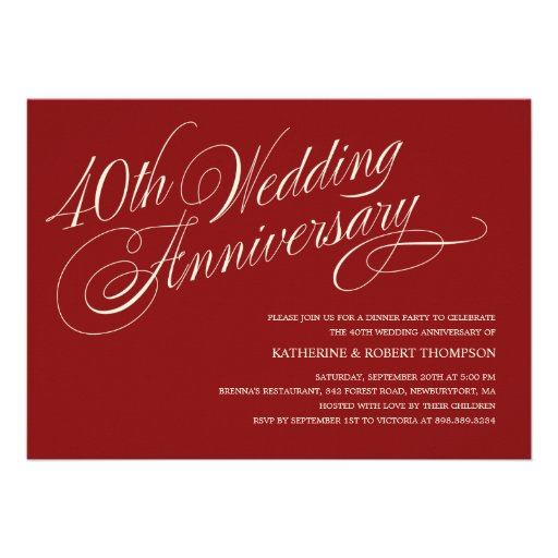 Ruby Wedding Anniversary Invitations (front side)