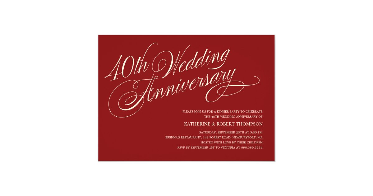 Ruby Wedding Anniversary Invitations Zazzle Com