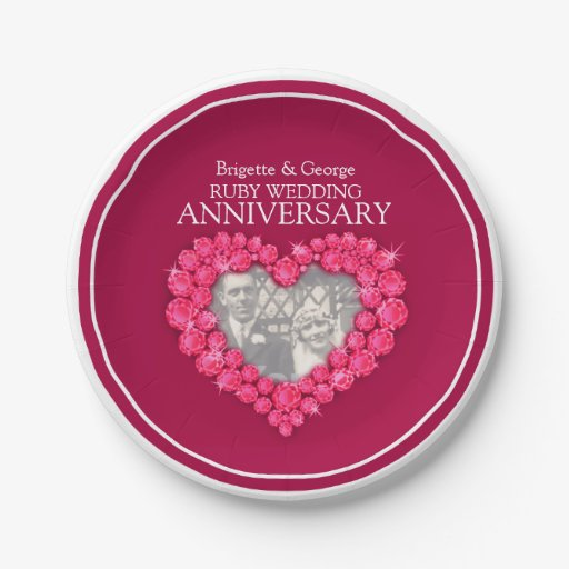 Ruby Wedding Anniversary Gift Experiences : Ruby Wedding Anniversary photo heart paper plate 7 Inch Paper Plate ...
