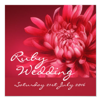 "Ruby wedding party invite 40 years square 5.25"" square invitation card"