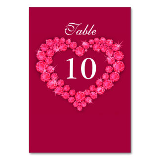 Ruby wedding red heart table numbers card