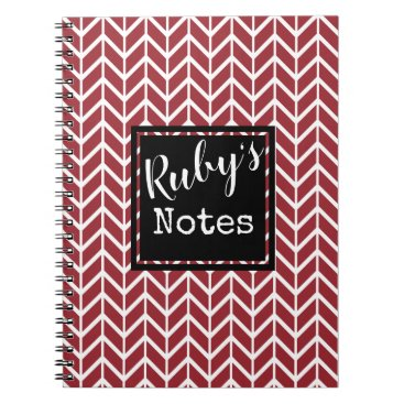 Professional Business Ruby's Notes. Your Name. Custom Color Chervon Notebook