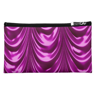 ruched, ruching, satin, luxurious, golden, scallop cosmetic bag