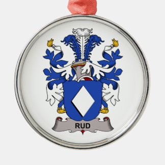 Rud Family Crest Round Metal Christmas Ornament