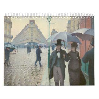 Ruda de París Temps de Pluie de Gustave Calendarios