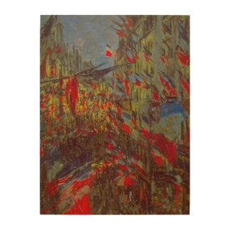 Ruda Montorgueil con las banderas de Claude Monet Impresión En Madera