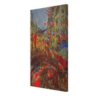Ruda Montorgueil con las banderas de Claude Monet Impresiones En Lona