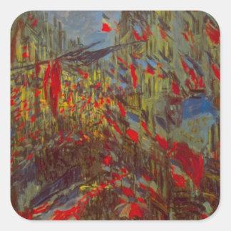 Ruda Montorgueil con las banderas de Claude Monet Pegatina Cuadrada