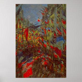 Ruda Montorgueil con las banderas de Claude Monet Póster