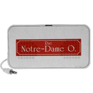 Ruda Notre-Dame, placa de calle de Montreal Sistema Altavoz