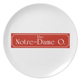 Ruda Notre-Dame, placa de calle de Montreal Plato Para Fiesta