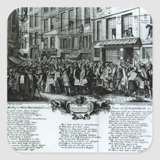 Ruda Quinquempoix en 1720 Pegatina Cuadrada