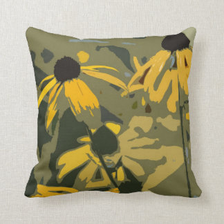 Rudbeckia Floral Abstract Design Throw Pillow