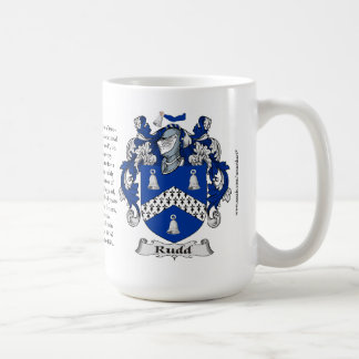 Rudd, the Origin, the Meaning and the Crest Classic White Coffee Mug