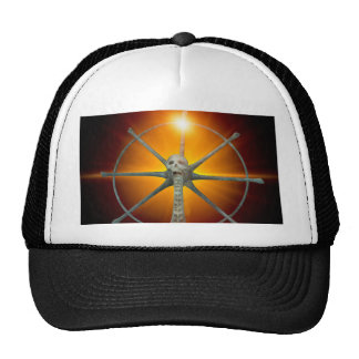 Rudder with skull and spinal column trucker hat