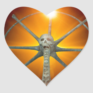 Rudder with skull and spinal column heart stickers