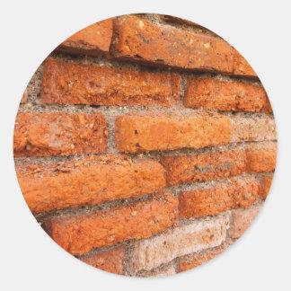Ruddy Orange Brick Wall Classic Round Sticker