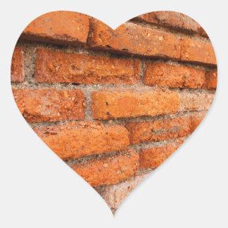 Ruddy Orange Brick Wall Heart Sticker