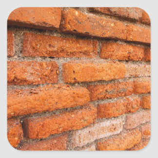 Ruddy Orange Brick Wall Square Sticker