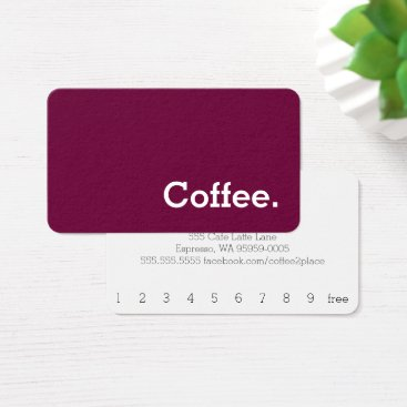 coffeepunch Ruddy Simple Word Dark Loyalty Coffee Punch-Card Business Card