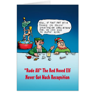 Rude Alf Funny Elf Christmas Card