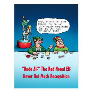 Rude Alf - Funny Elf Christmas Cartoon Postcard